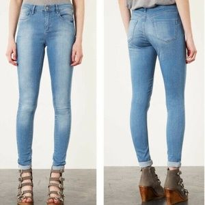 Top Shop Skinny Jeans Moto Leigh Ankle Bleach  26